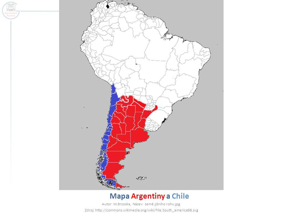 Mapa Argentiny a Chile Autor: M.Brzoska, Název: země jižního rohu.jpg Zdroj: http://commons.wikimedia.org/wiki/File:South_america98.svg