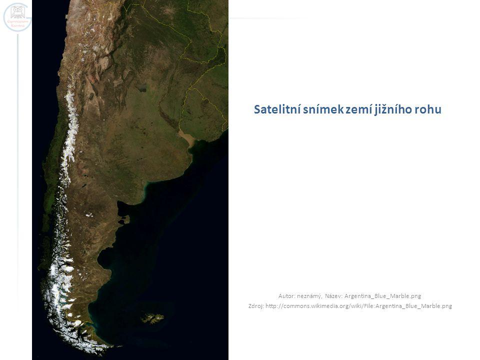 Satelitní snímek zemí jižního rohu Autor: neznámý, Název: Argentina_Blue_Marble.png Zdroj: http://commons.wikimedia.org/wiki/File:Argentina_Blue_Marble.png