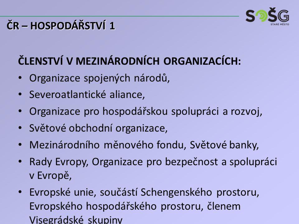 ČLENSTVÍ V MEZINÁRODNÍCH ORGANIZACÍCH: Organizace spojených národů, Severoatlantické aliance, Organizace pro hospodářskou spolupráci a rozvoj, Světové obchodní organizace, Mezinárodního měnového fondu, Světové banky, Rady Evropy, Organizace pro bezpečnost a spolupráci v Evropě, Evropské unie, součástí Schengenského prostoru, Evropského hospodářského prostoru, členem Visegrádské skupiny ČR – HOSPODÁŘSTVÍ 1