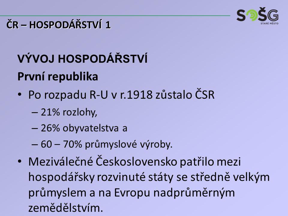 VÝVOJ HOSPODÁŘSTVÍ První republika Po rozpadu R-U v r.1918 zůstalo ČSR – 21% rozlohy, – 26% obyvatelstva a – 60 – 70% průmyslové výroby.