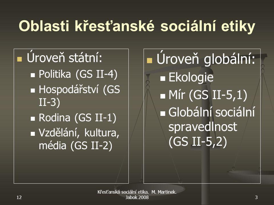 12 Křesťanská sociální etika. M. Martinek. Jabok 20083 Oblasti křesťanské sociální etiky Úroveň státní: Politika (GS II-4) Hospodářství (GS II-3) Rodi