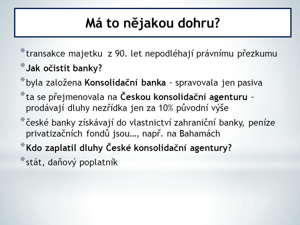 * transakce majetku z 90.let nepodléhají právnímu přezkumu * Jak očistit banky.
