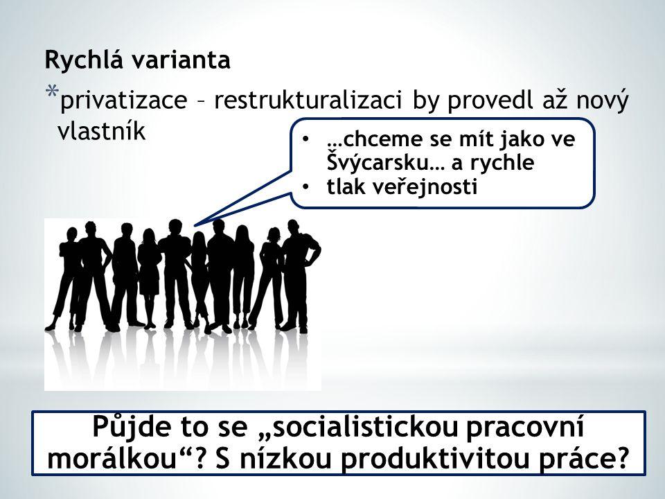 """Rychlá varianta * privatizace – restrukturalizaci by provedl až nový vlastník Půjde to se """"socialistickou pracovní morálkou ."""
