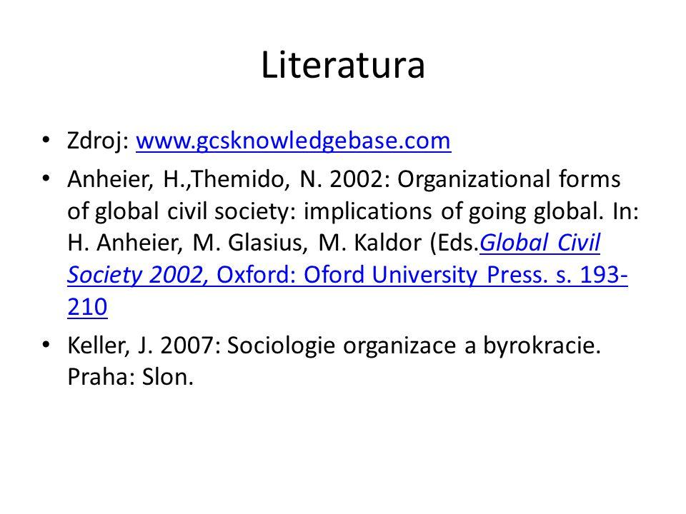 Literatura Zdroj: www.gcsknowledgebase.comwww.gcsknowledgebase.com Anheier, H.,Themido, N. 2002: Organizational forms of global civil society: implica
