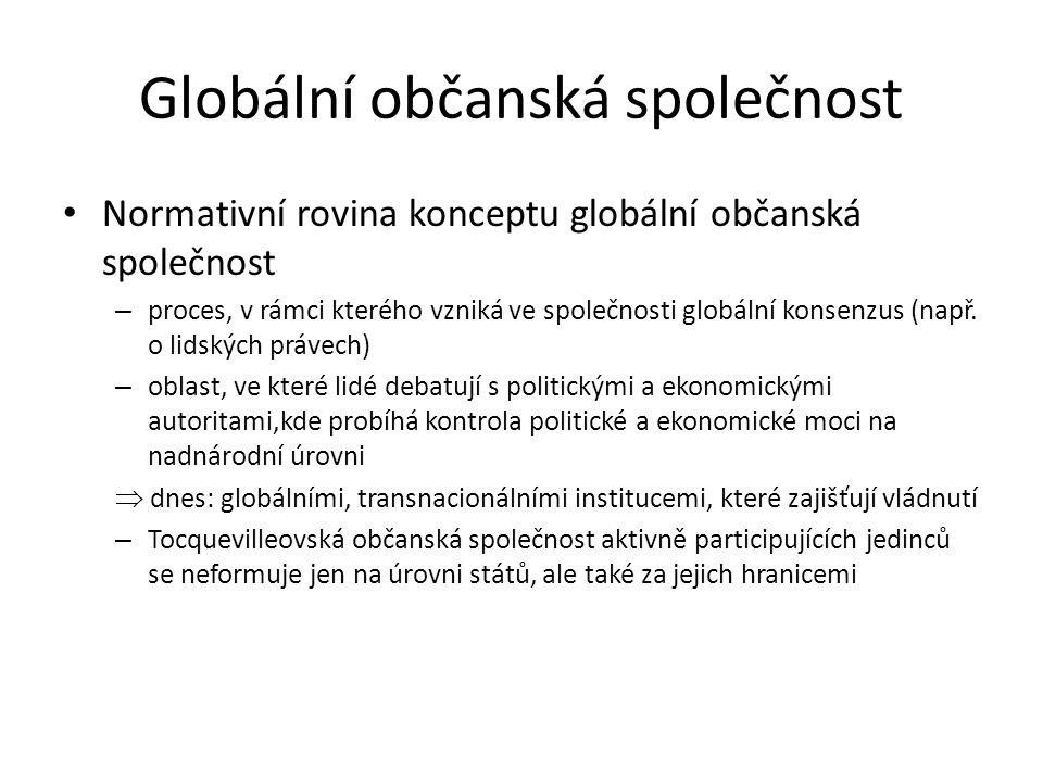 Globální občanská společnost Normativní rovina konceptu globální občanská společnost – proces, v rámci kterého vzniká ve společnosti globální konsenzu