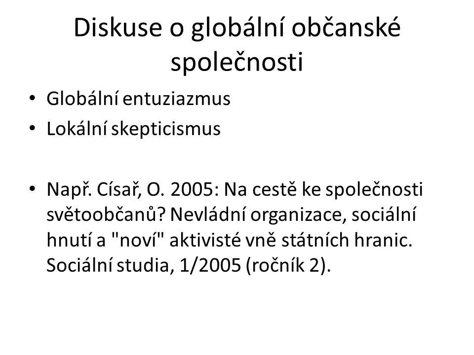 Diskuse o globální občanské společnosti Globální entuziazmus Lokální skepticismus Např. Císař, O. 2005: Na cestě ke společnosti světoobčanů? Nevládní