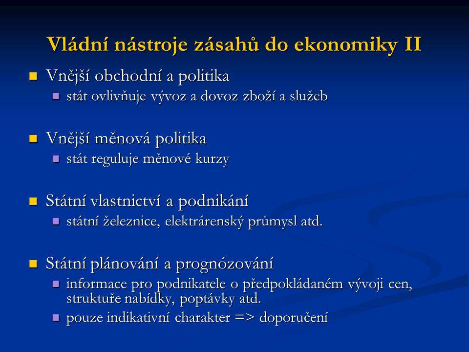 Vládní nástroje zásahů do ekonomiky II Vnější obchodní a politika Vnější obchodní a politika stát ovlivňuje vývoz a dovoz zboží a služeb stát ovlivňuj