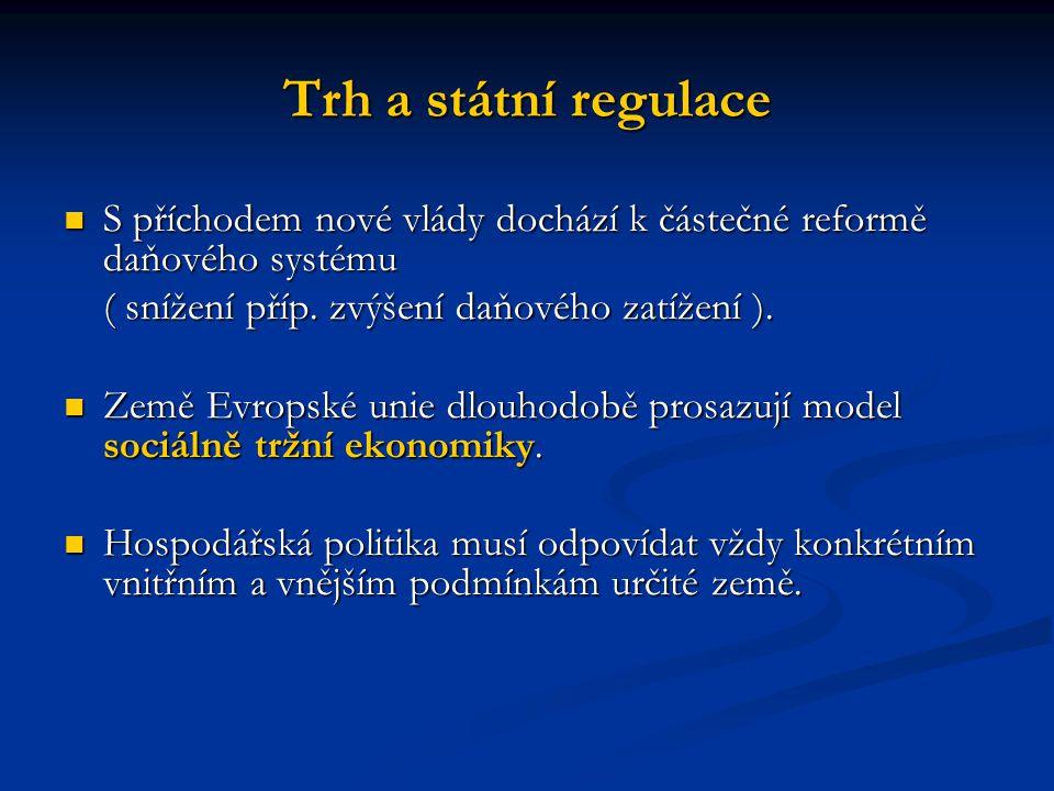 Trh a státní regulace S příchodem nové vlády dochází k částečné reformě daňového systému S příchodem nové vlády dochází k částečné reformě daňového systému ( snížení příp.