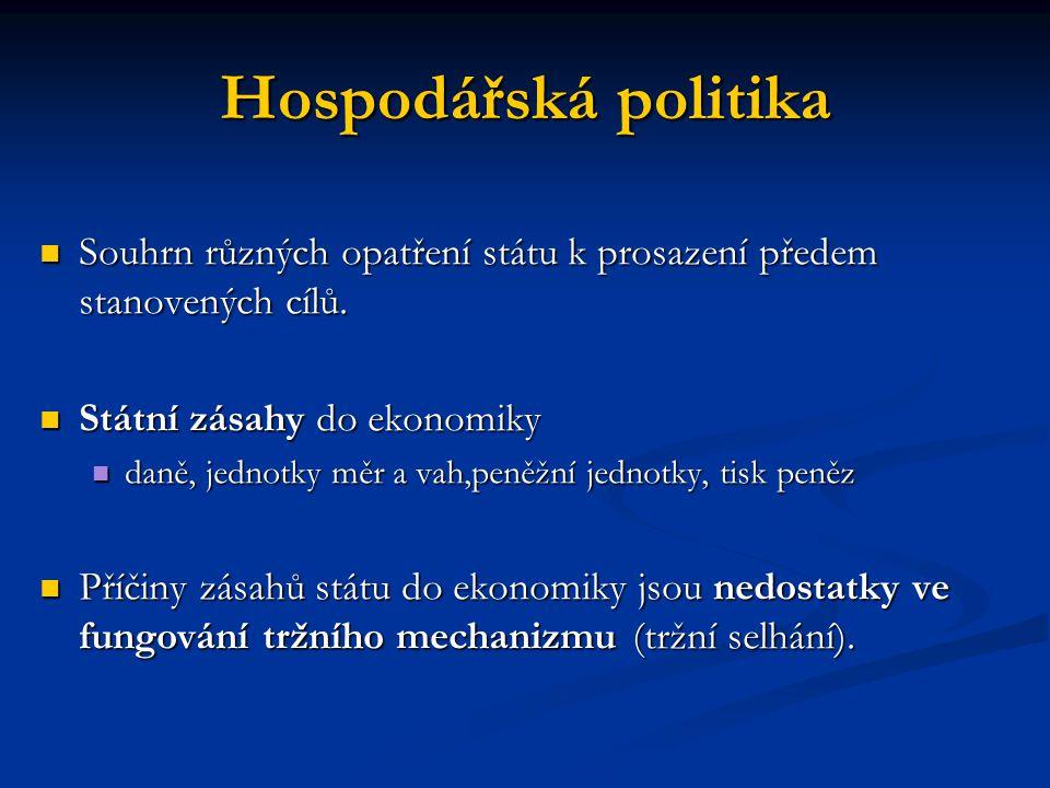Hospodářská politika Souhrn různých opatření státu k prosazení předem stanovených cílů. Souhrn různých opatření státu k prosazení předem stanovených c