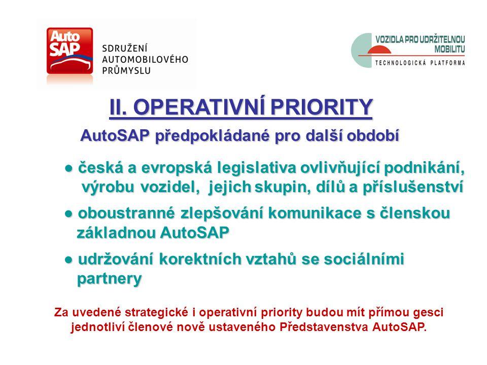 ● česká a evropská legislativa ovlivňující podnikání, výrobu vozidel, jejich skupin, dílů a příslušenství výrobu vozidel, jejich skupin, dílů a příslušenství ● oboustranné zlepšování komunikace s členskou základnou AutoSAP základnou AutoSAP ● udržování korektních vztahů se sociálními partnery partnery II.