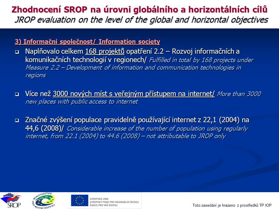 Toto zasedání je hrazeno z prostředků TP IOP Zhodnocení SROP na úrovni globálního a horizontálních cílů JROP evaluation on the level of the global and