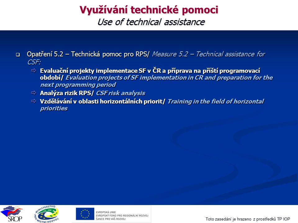 Toto zasedání je hrazeno z prostředků TP IOP Využívání technické pomoci Use of technical assistance  Opatření 5.2 – Technická pomoc pro RPS/ Measure