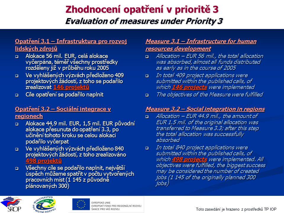 Toto zasedání je hrazeno z prostředků TP IOP Zhodnocení opatření v prioritě 3 Evaluation of measures under Priority 3 Opatření 3.1 – Infrastruktura pr