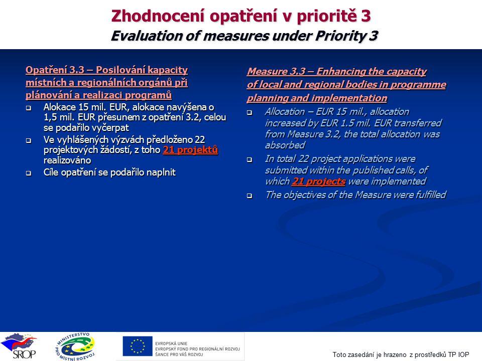 Toto zasedání je hrazeno z prostředků TP IOP Zhodnocení opatření v prioritě 3 Evaluation of measures under Priority 3 Opatření 3.3 – Posilování kapaci