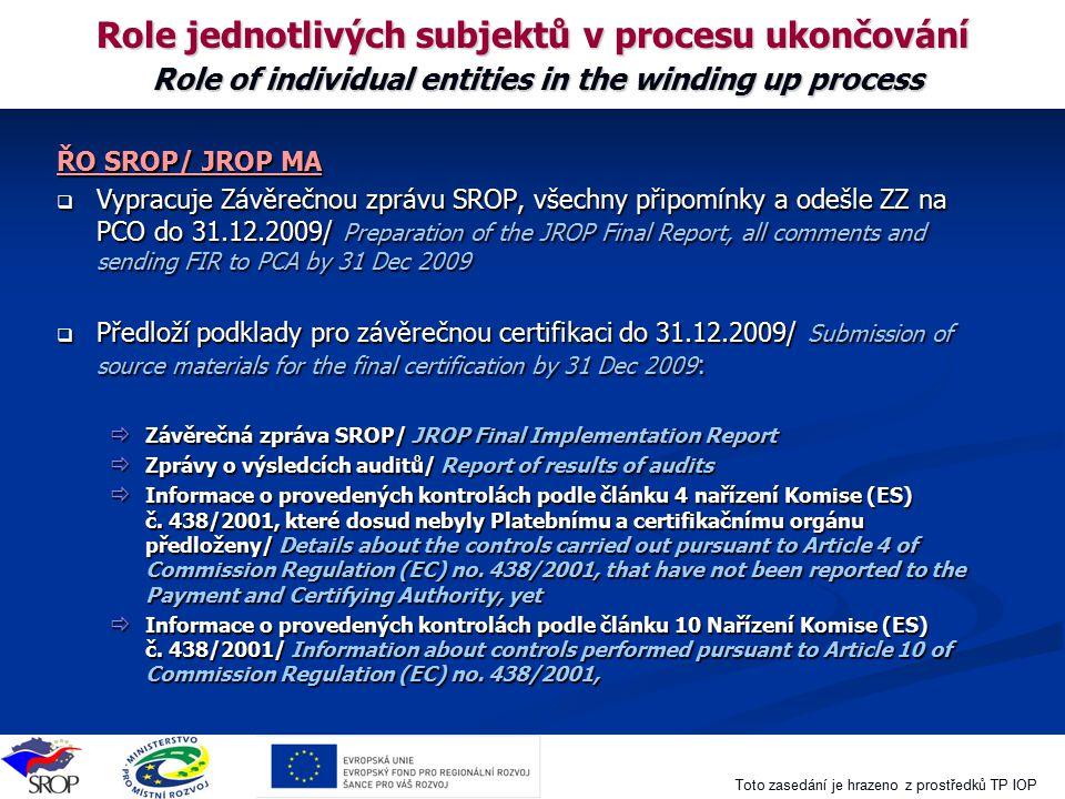 Toto zasedání je hrazeno z prostředků TP IOP Role jednotlivých subjektů v procesu ukončování Role of individual entities in the winding up process ŘO