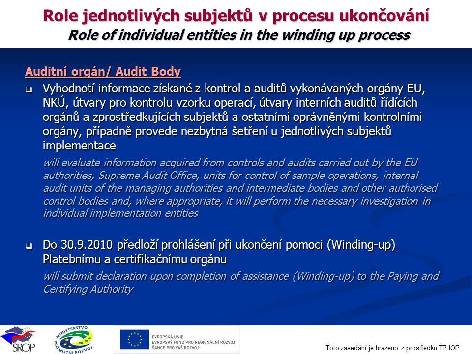Toto zasedání je hrazeno z prostředků TP IOP Role jednotlivých subjektů v procesu ukončování Role of individual entities in the winding up process Aud