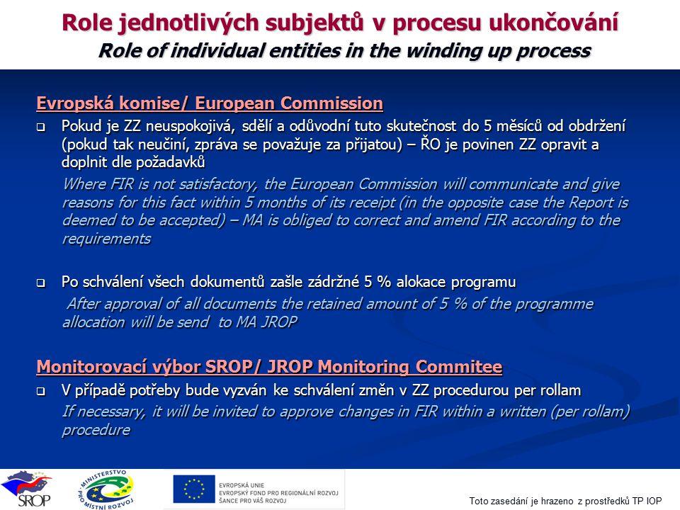 Toto zasedání je hrazeno z prostředků TP IOP Role jednotlivých subjektů v procesu ukončování Role of individual entities in the winding up process Evr
