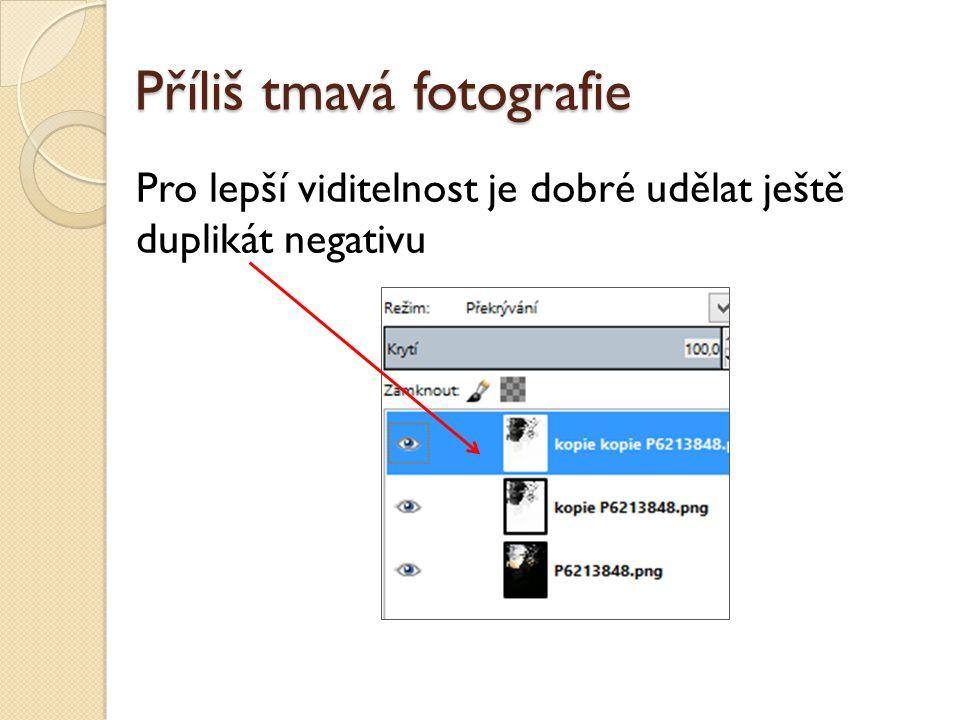 Příliš tmavá fotografie Pro lepší viditelnost je dobré udělat ještě duplikát negativu