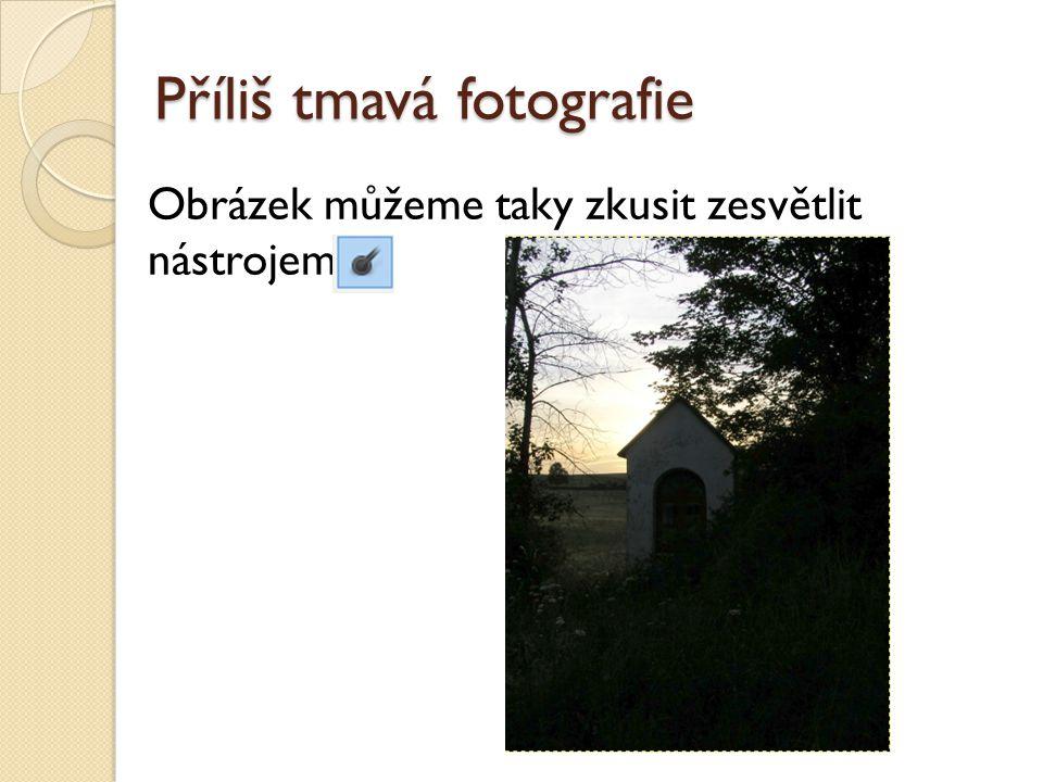 Příliš tmavá fotografie Obrázek můžeme taky zkusit zesvětlit nástrojem