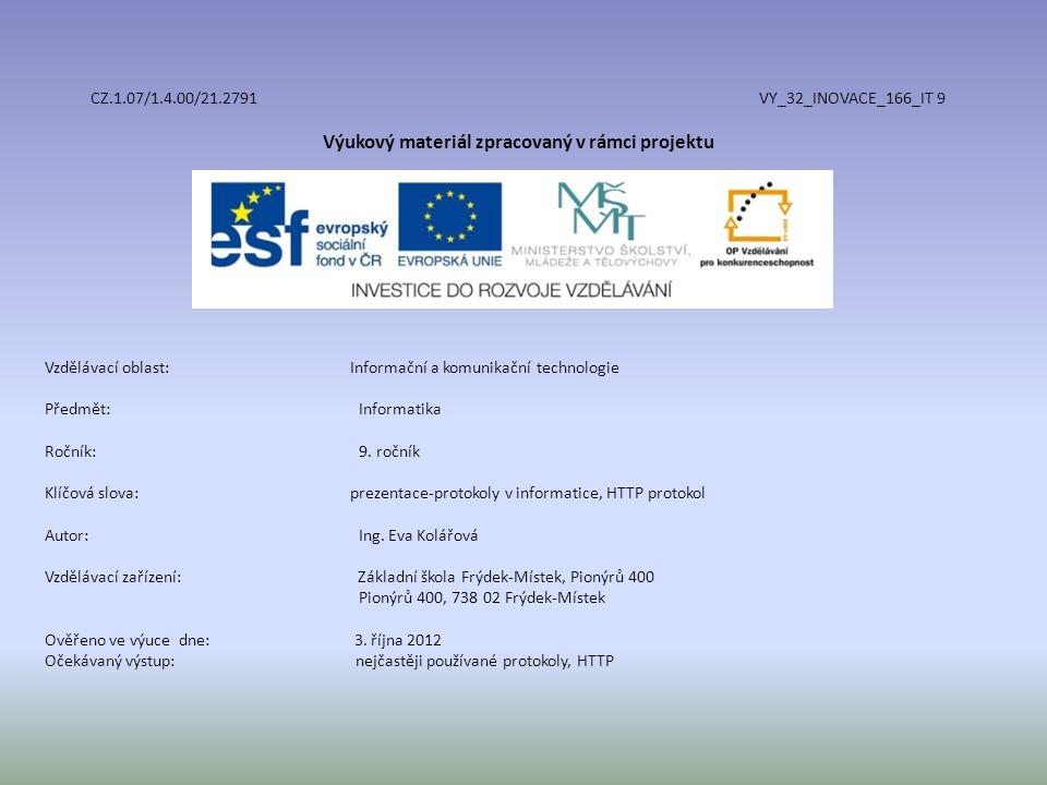 CZ.1.07/1.4.00/21.2791 VY_32_INOVACE_166_IT 9 Výukový materiál zpracovaný v rámci projektu Vzdělávací oblast: Informační a komunikační technologie Předmět:Informatika Ročník:9.