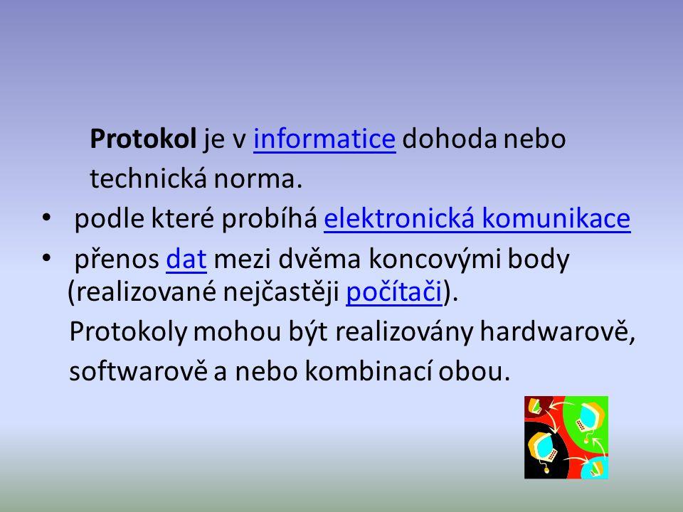 Protokol je v informatice dohoda neboinformatice technická norma.