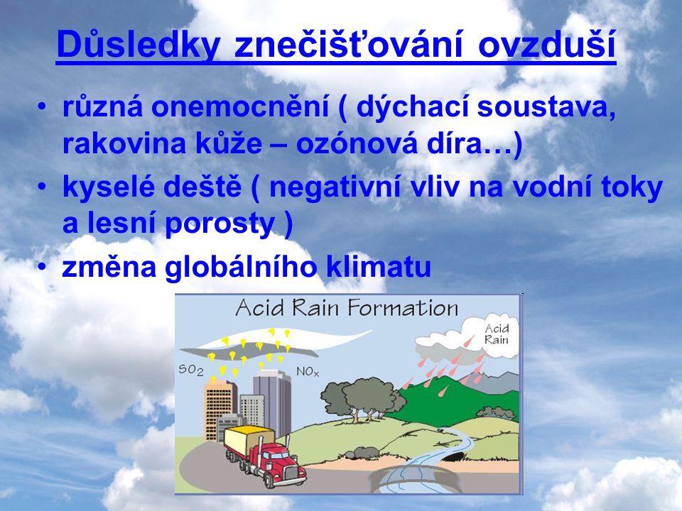 Důsledky znečišťování ovzduší různá onemocnění ( dýchací soustava, rakovina kůže – ozónová díra…) kyselé deště ( negativní vliv na vodní toky a lesní