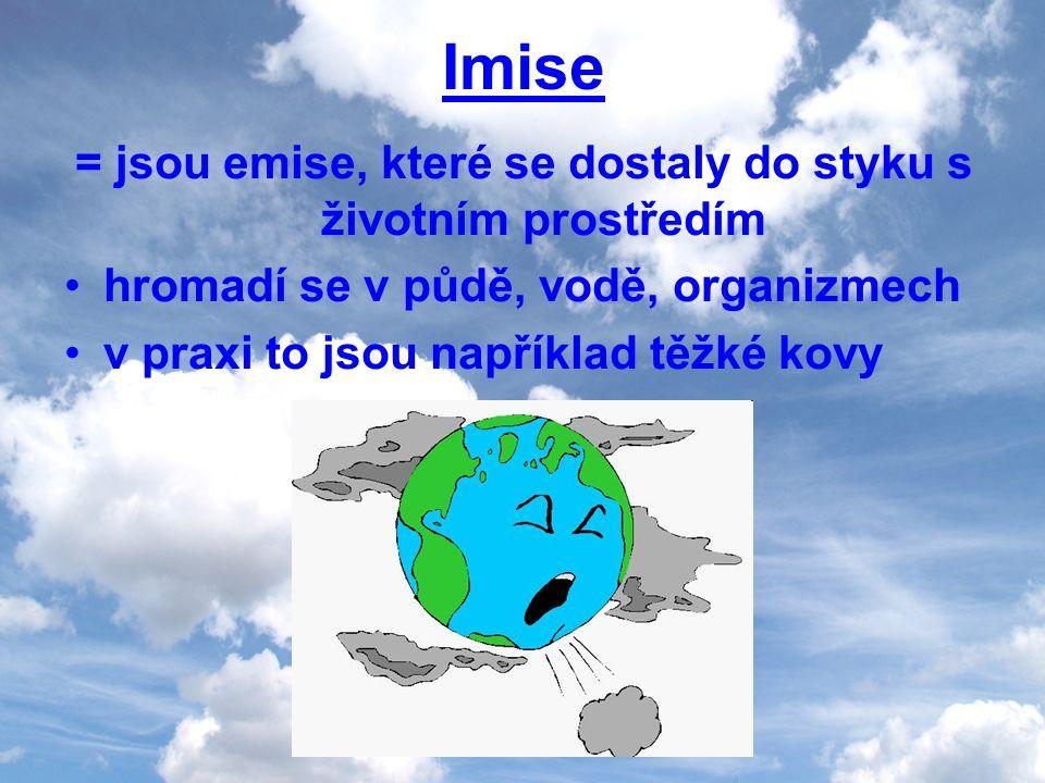 Imise = jsou emise, které se dostaly do styku s životním prostředím hromadí se v půdě, vodě, organizmech v praxi to jsou například těžké kovy