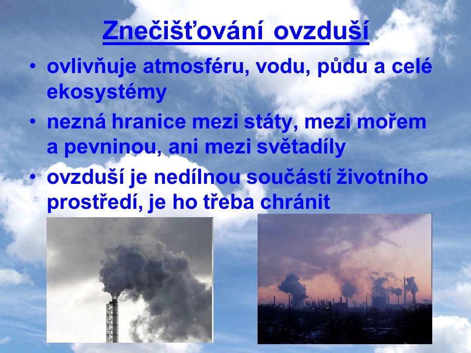 Znečišťování ovzduší ovlivňuje atmosféru, vodu, půdu a celé ekosystémy nezná hranice mezi státy, mezi mořem a pevninou, ani mezi světadíly ovzduší je