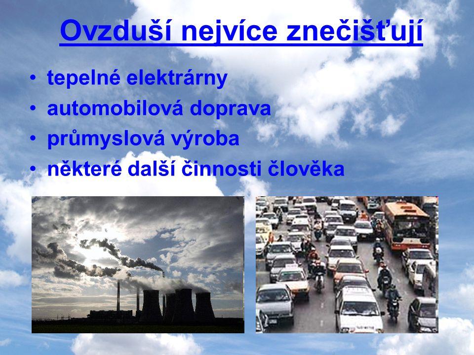 Ovzduší nejvíce znečišťují tepelné elektrárny automobilová doprava průmyslová výroba některé další činnosti člověka