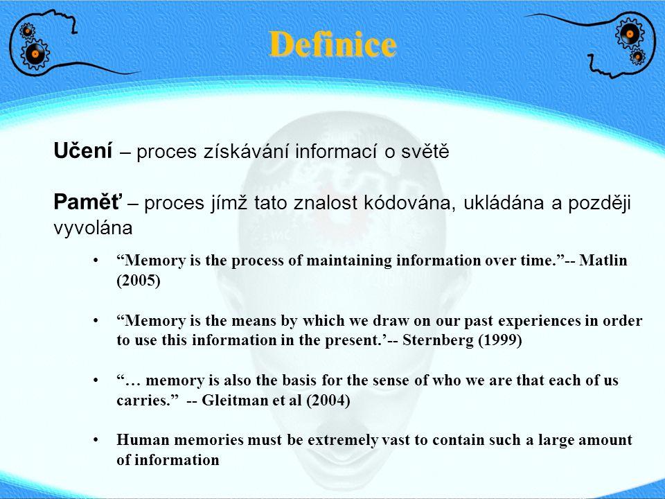 Paměť: Dlouhodobá paměť Sensorická paměťDlouhodobá paměťKrátkodobá paměť <1 s <1 min Life-time Explicitní (deklarativní) Implicitní (nedeklarativní) Episodická (události, zkuš.) Sémantická (fakta, koncepty) Priming Procedurální (zvyky, schopn.) Asociační učení, podmiňování Neasociační učení (habituace, sensit.) Medial temporal lobe (Hippocampus) Neocortex StriatumReflexní dráhy Emoční odezvy Amygdala Svaly kostry Mozeček Squire's (1987)