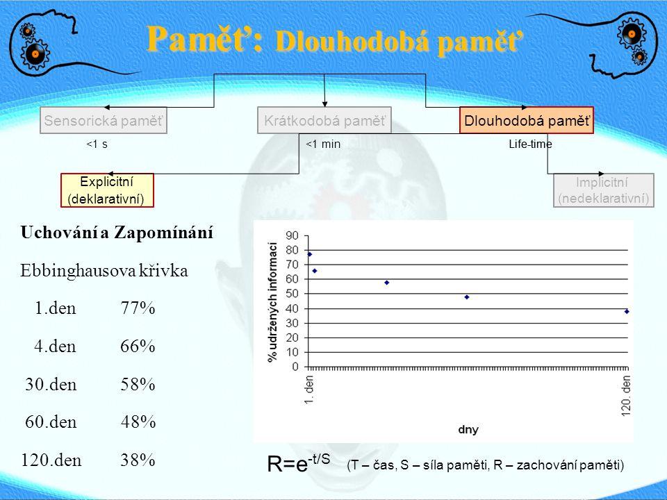 Paměť: Dlouhodobá paměť Sensorická paměťDlouhodobá paměťKrátkodobá paměť <1 s <1 min Life-time Explicitní (deklarativní) Implicitní (nedeklarativní) Uchování a Zapomínání Ebbinghausova křivka 1.den77% 4.den66% 30.den 58% 60.den 48% 120.den38% R=e -t/S (T – čas, S – síla paměti, R – zachování paměti)