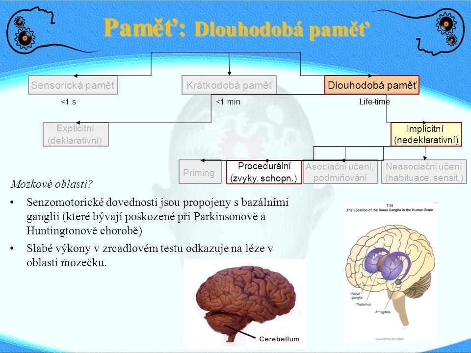 Paměť: Dlouhodobá paměť Sensorická paměťDlouhodobá paměťKrátkodobá paměť <1 s <1 min Life-time Explicitní (deklarativní) Implicitní (nedeklarativní) P