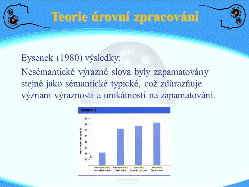 Teorie úrovní zpracování Eysenck (1980) výsledky: Nesémantické výrazné slova byly zapamatovány stejně jako sémantické typické, což zdůrazňuje význam výraznosti a unikátnosti na zapamatování.