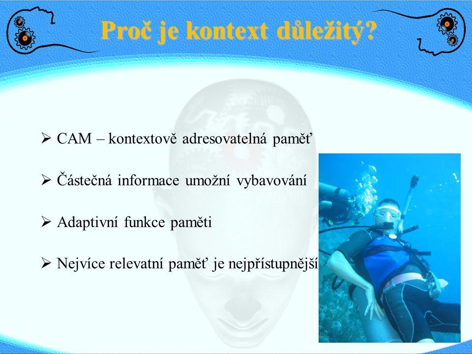 Proč je kontext důležitý?  CAM – kontextově adresovatelná paměť  Částečná informace umožní vybavování  Adaptivní funkce paměti  Nejvíce relevatní