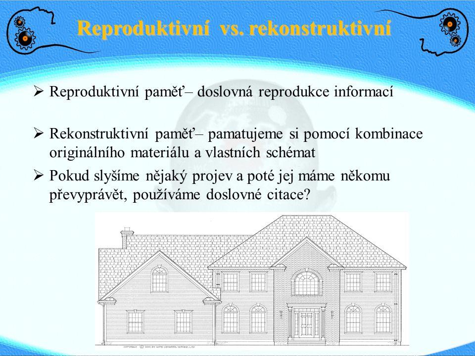 Reproduktivní vs. rekonstruktivní  Reproduktivní paměť– doslovná reprodukce informací  Rekonstruktivní paměť– pamatujeme si pomocí kombinace originá