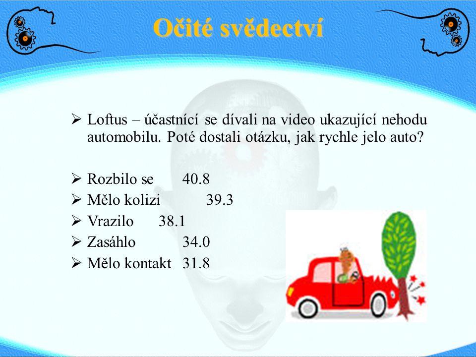 Očité svědectví  Loftus – účastnící se dívali na video ukazující nehodu automobilu. Poté dostali otázku, jak rychle jelo auto?  Rozbilo se40.8  Měl