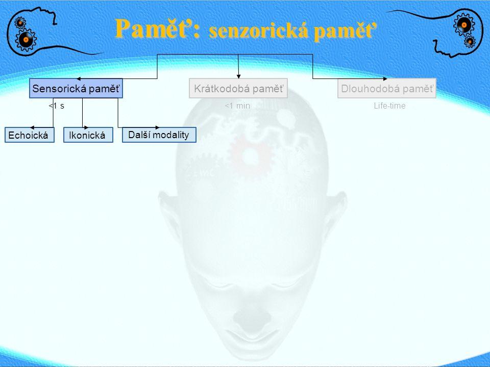 Paměť: Dlouhodobá paměť Sensorická paměťDlouhodobá paměťKrátkodobá paměť <1 s <1 min Life-time Explicitní (deklarativní) Implicitní (nedeklarativní) Priming Procedurální (zvyky, schopn.) Asociační učení, podmiňování Neasociační učení (habituace, sensit.) Mozkové oblasti.