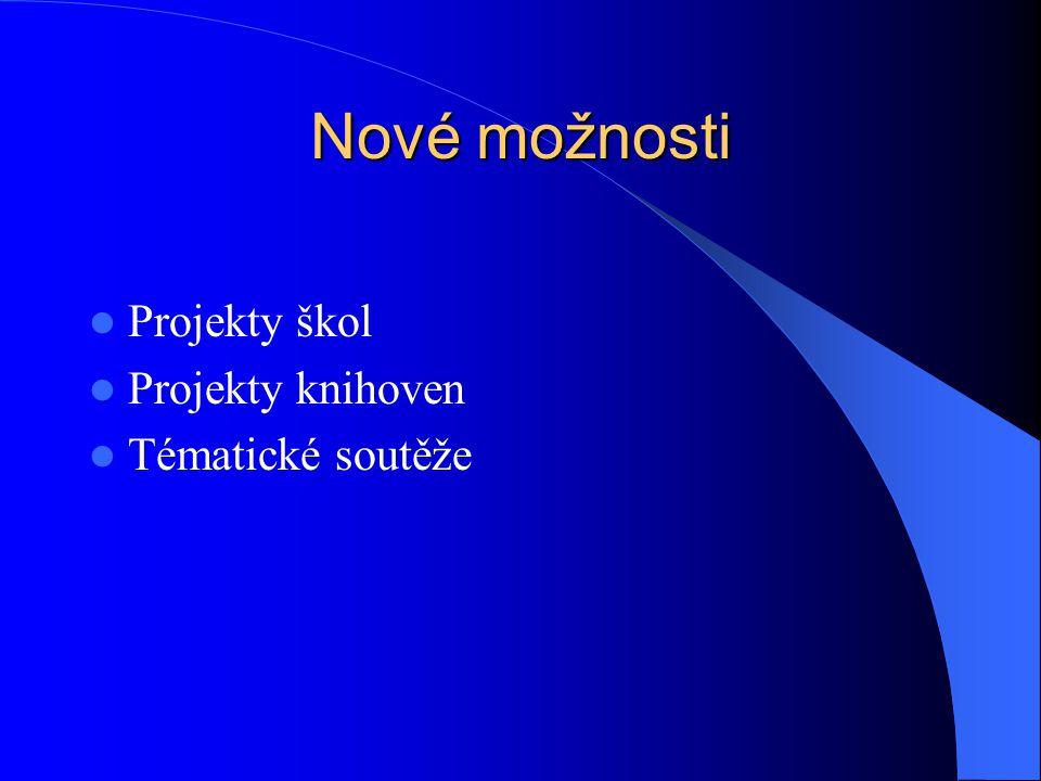 Nové možnosti Projekty škol Projekty knihoven Tématické soutěže
