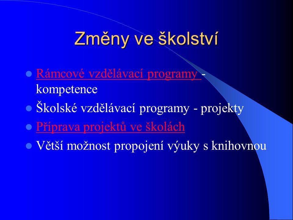Změny ve školství Rámcové vzdělávací programy - kompetence Rámcové vzdělávací programy Školské vzdělávací programy - projekty Příprava projektů ve školách Větší možnost propojení výuky s knihovnou