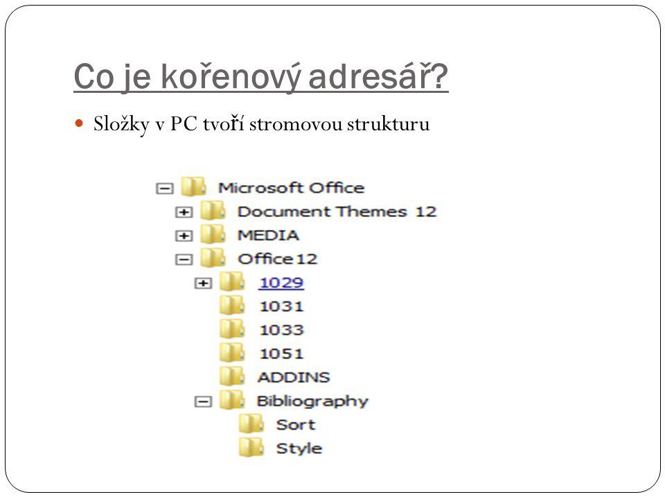 Co je kořenový adresář? Složky v PC tvo ř í stromovou strukturu