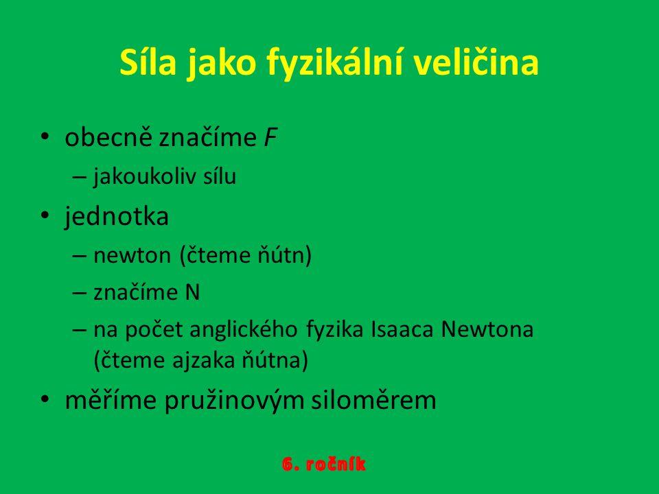Síla jako fyzikální veličina obecně značíme F –j–jakoukoliv sílu jednotka –n–newton (čteme ňútn) –z–značíme N –n–na počet anglického fyzika Isaaca New
