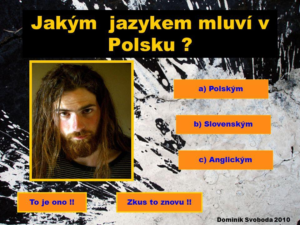 Jakým jazykem mluví v Polsku .a) Polským b) Slovenským c) Anglickým Zkus to znovu !!To je ono !.