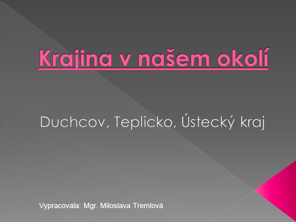 Vypracovala: Mgr. Miloslava Tremlová