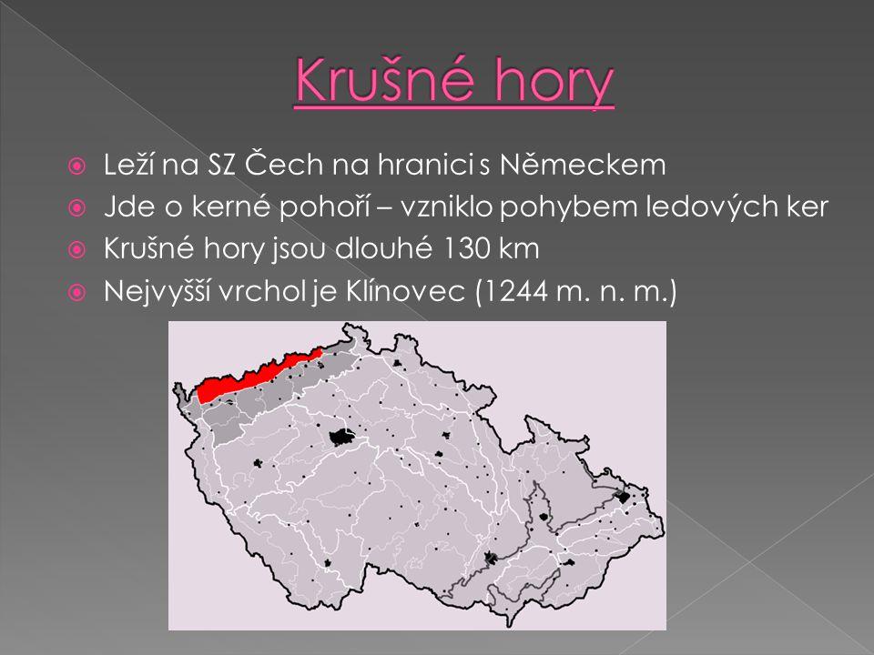  Leží na SZ Čech na hranici s Německem  Jde o kerné pohoří – vzniklo pohybem ledových ker  Krušné hory jsou dlouhé 130 km  Nejvyšší vrchol je Klínovec (1244 m.