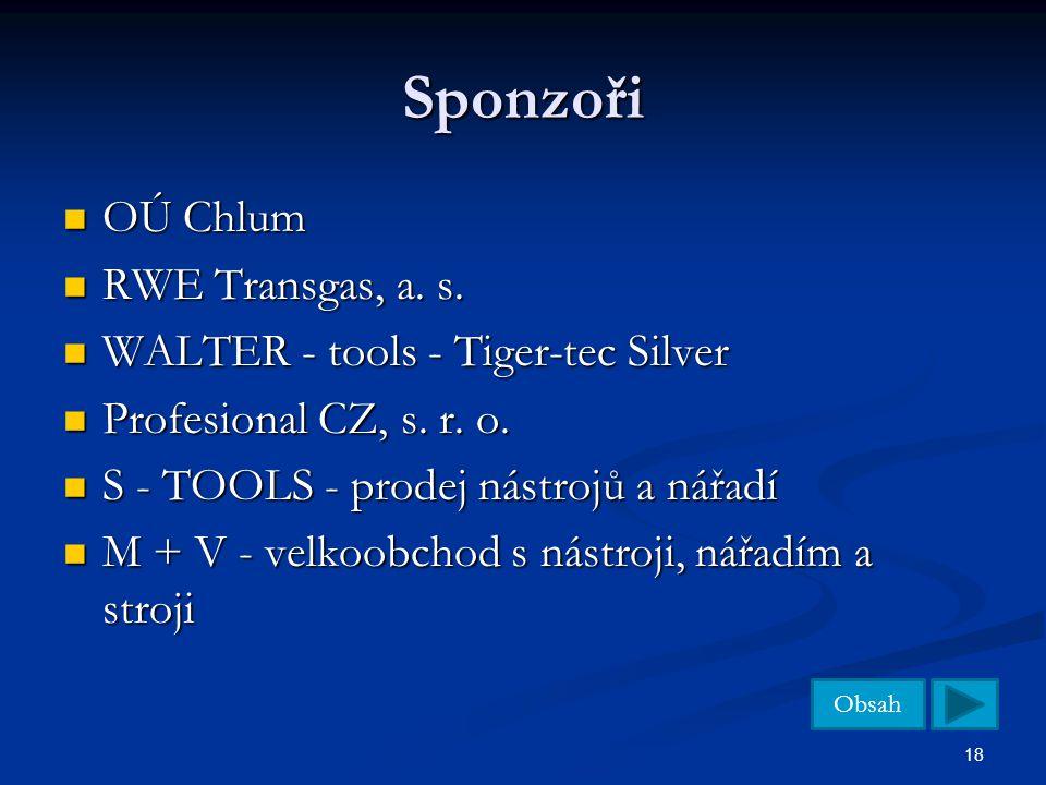 Obsah 18 Sponzoři OÚ Chlum OÚ Chlum RWE Transgas, a. s. RWE Transgas, a. s. WALTER - tools - Tiger-tec Silver WALTER - tools - Tiger-tec Silver Profes