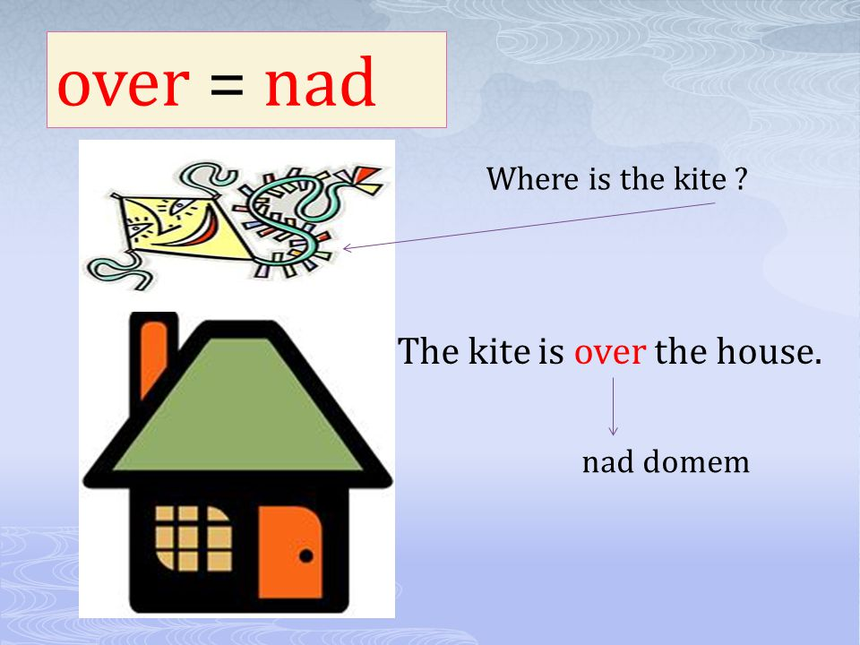 over = nad Where is the kite ? The kite is over the house. nad domem