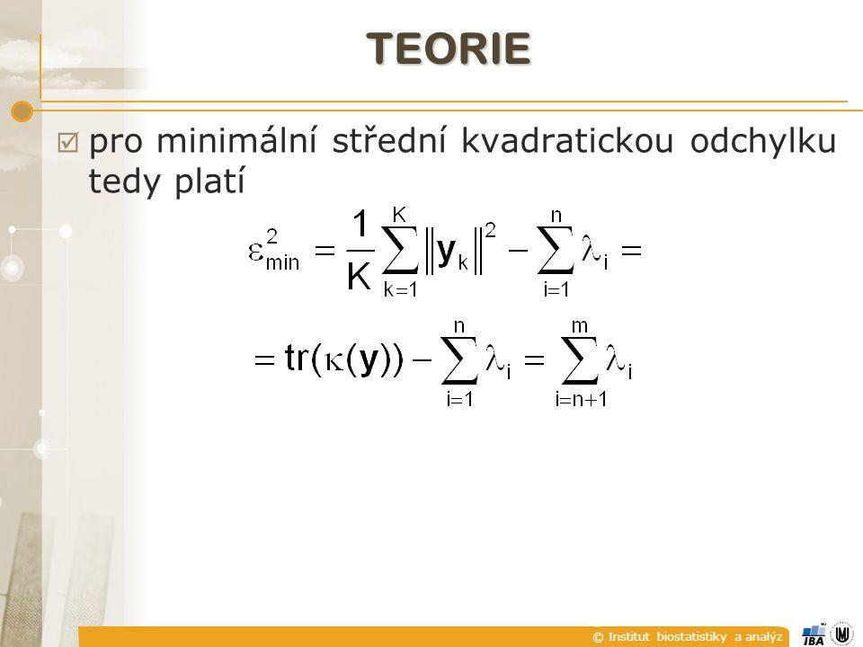 © Institut biostatistiky a analýz TEORIE  pro minimální střední kvadratickou odchylku tedy platí