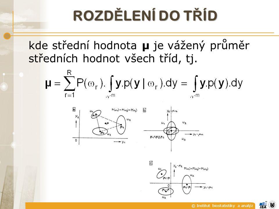 © Institut biostatistiky a analýz ROZD Ě LENÍ DO T Ř ÍD kde střední hodnota μ je vážený průměr středních hodnot všech tříd, tj.