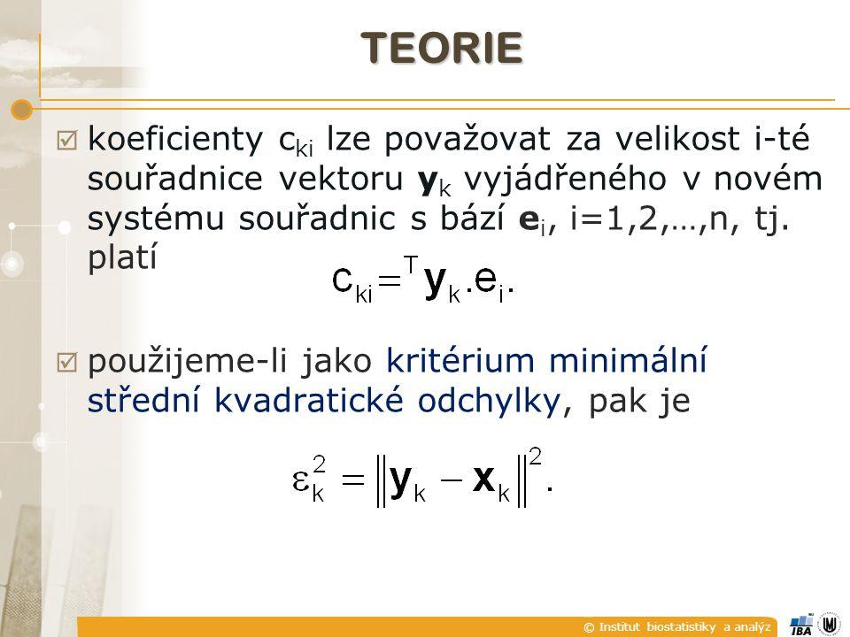 © Institut biostatistiky a analýz TEORIE  koeficienty c ki lze považovat za velikost i-té souřadnice vektoru y k vyjádřeného v novém systému souřadnic s bází e i, i=1,2,…,n, tj.