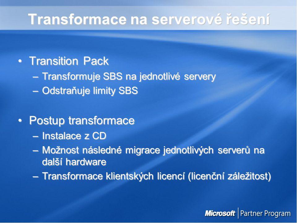 Transformace na serverové řešení Transition PackTransition Pack –Transformuje SBS na jednotlivé servery –Odstraňuje limity SBS Postup transformacePostup transformace –Instalace z CD –Možnost následné migrace jednotlivých serverů na další hardware –Transformace klientských licencí (licenční záležitost)
